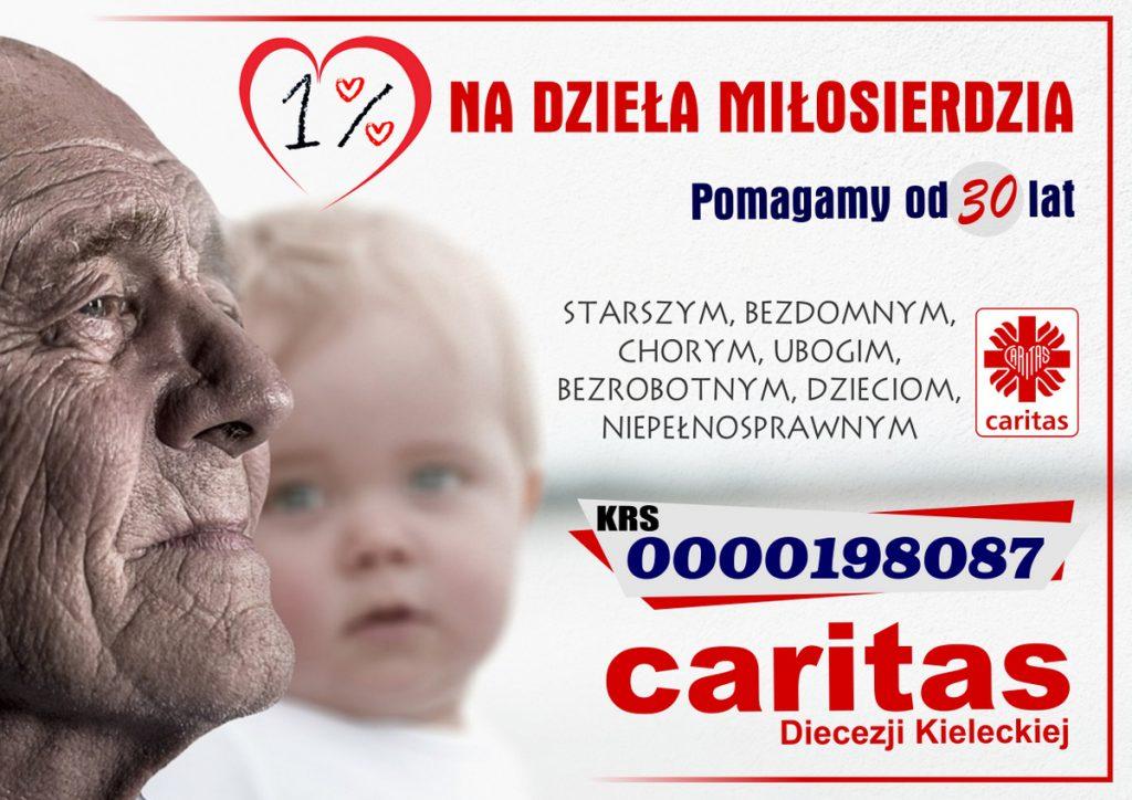 Prosimy o 1% podatku na dzieła miłosierdzia Caritas